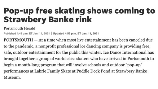 Pop-up free skating shows coming to Strawbery Banke rink